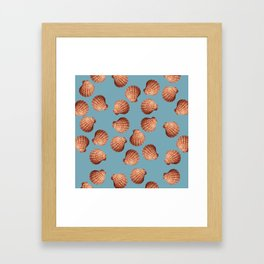 Light blue Big Clam pattern Illustration design Framed Art Print