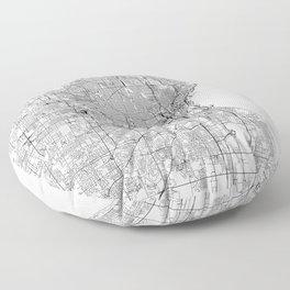 Milwaukee White Map Floor Pillow
