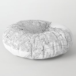 Milwaukee White Map Floor Pillow