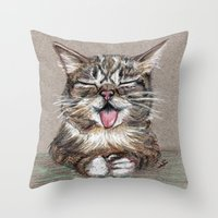 lil bub Throw Pillows featuring Cat *Lil Bub*  by Pendientera