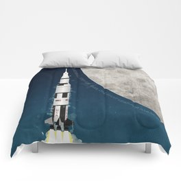 Apollo Rocket Launch to the Moon Comforters