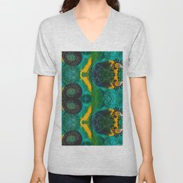 Teal boho eye of Sun Unisex V-Neck