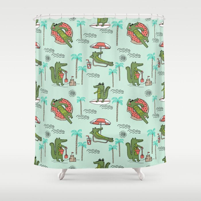 Alligator Vacation Tropical Gator Life Palm Beach Socal Florida Gators Shower Curtain By Andrealaurendesign