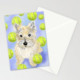 Miss Caroline the Cairn Terrier is Obsessed About Fetching Tennis Balls Stationery Cards