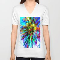 palm tree V-neck T-shirts featuring Palm Tree  by Nikki Hung