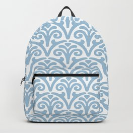 Floral Scallop Pattern Pale Blue Backpack