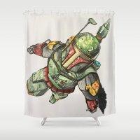 boba fett Shower Curtains featuring Boba Fett by Glen Howy