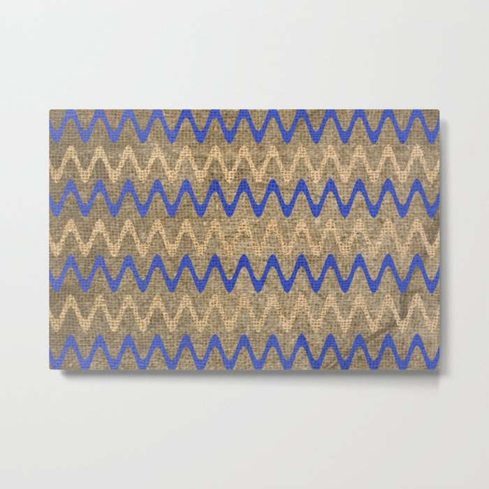 Blue and Tan Zigzag Stripes on Grungy Brown Burlap Graphic Design Metal Print