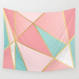 Rose Gold / Blue Triangles Wall Tapestry