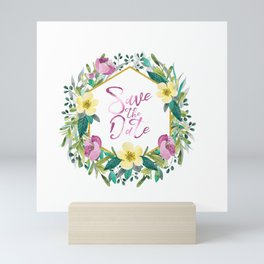 Colorful flowers wreath, Save the date Typography Mini Art Print