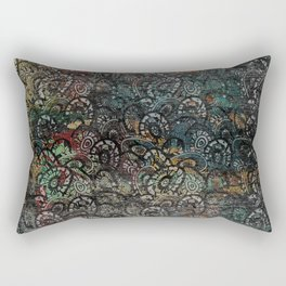 Burned Color  Paisley Pattern on  Wood Rectangular Pillow