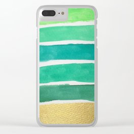 Gold and Green Stripes Clear iPhone Case