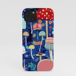 Blue Mushrooms - Zu hause Marine blue Abstract Art iPhone Case
