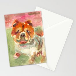 My Bulldog is ready for a walk Stationery Cards