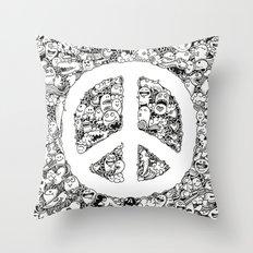 Peace Doodle Throw Pillow