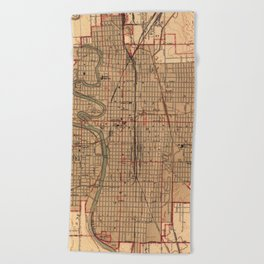 Vintage Map of Wichita Kansas (1943) Beach Towel