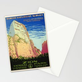 WPA vintage Travel poster - Zion National Park - National Park Service Stationery Cards