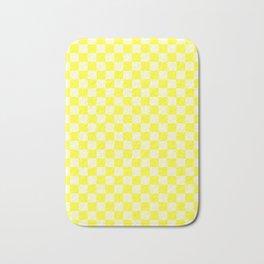 Cream Yellow and Electric Yellow Checkerboard Bath Mat