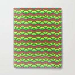 Digital Art Waves Multicolored Metal Print