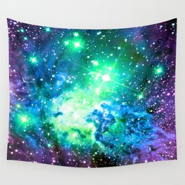 Fox Fur Nebula BRIGHT : Green Blue Purple Galaxy Wall Tapestry