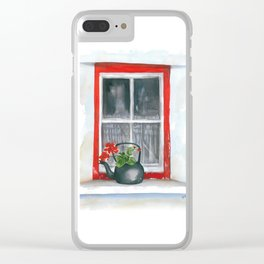 Red Window Clear iPhone Case