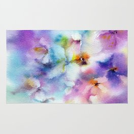 Abstract flowers. Watercolor floral pattern. Colorful delicate florals. Rug