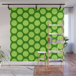 Dots Pattern 6 - Emerald, Lime, Green Wall Mural