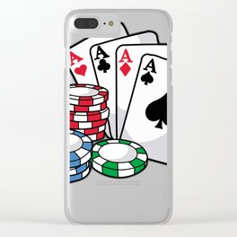POKER CARDS AND CHIPS Texas Holdem Casino Vegas Clear iPhone Case