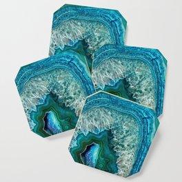 Aqua turquoise agate mineral gem stone - Beautiful Backdrop Coaster