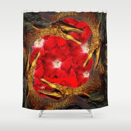RED BLOODY HIBISCUS FLOWERS ALLIGATORS GOLD ART Shower Curtain