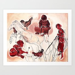 Children Playing Horses Chicken Composition Painting Art Print