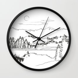 Minimal Mountain Lake Landscape 1 Wall Clock