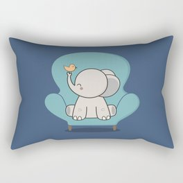 Kawaii Cute Elephant On A Couch Rectangular Pillow