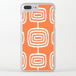 Mid Century Modern Atomic Rings Pattern 771 Orange Clear iPhone Case