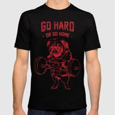 GO HARD OR GO HOME LARGE Black Mens Fitted Tee