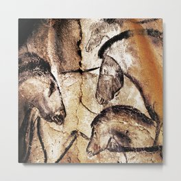 Facing Horses // Chauvet Cave Art Metal Print