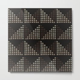 Layered Geometric Block Print in Chocolate Metal Print