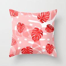 red monstera Throw Pillow
