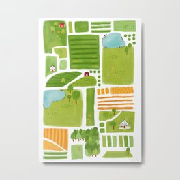 Bird's Eye View of the Countryside Metal Print