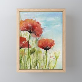 Red Flowers Watercolor Poppies Framed Mini Art Print