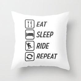 Snowboarding humorous fun mountain winter sports Throw Pillow