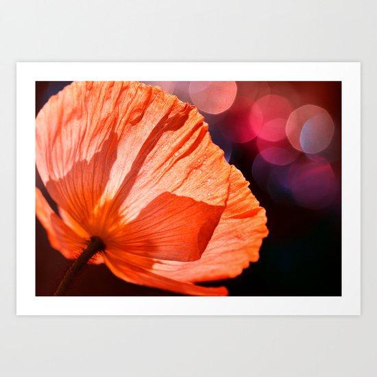 Catch the Light & Throw it Back - orange poppy macro with bokeh Art Print