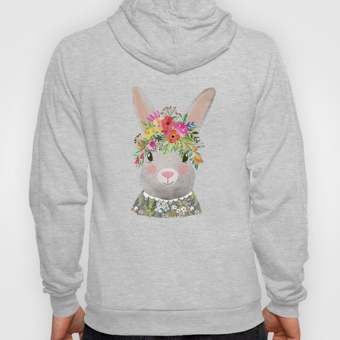 Rabbit with floral crown Hoody
