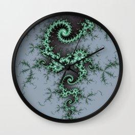 Green Fractal Ornament Wall Clock