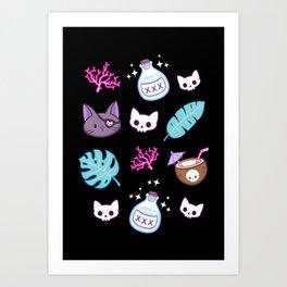 Pirate Cat // Black Art Print