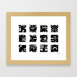 Black and white square monsters Framed Art Print