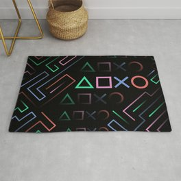 Playstation Buttons Maze Lines Rug