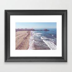 Santa Monica Pier by Drone Framed Art Print