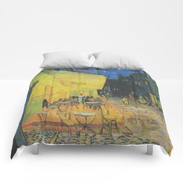 Cafe Terrace at Night by Vincent van Gogh Comforters