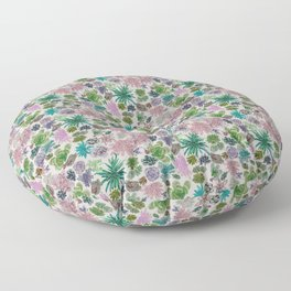 collection of succulents and their flowers Floor Pillow